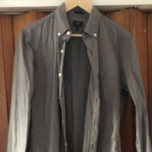 Small, slim fit jcrew grey striped button down